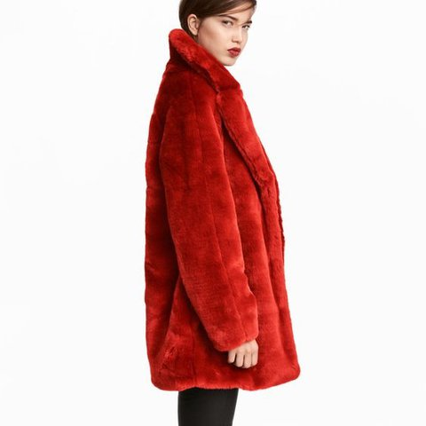 H&M Orange Faux Fur Coat Sz: 10