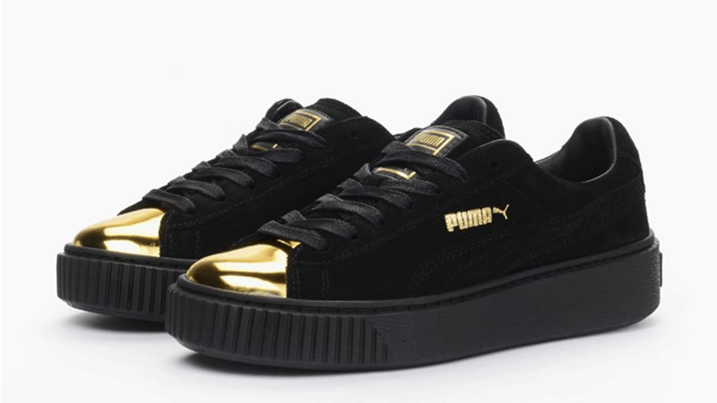 puma suede creepers black gold