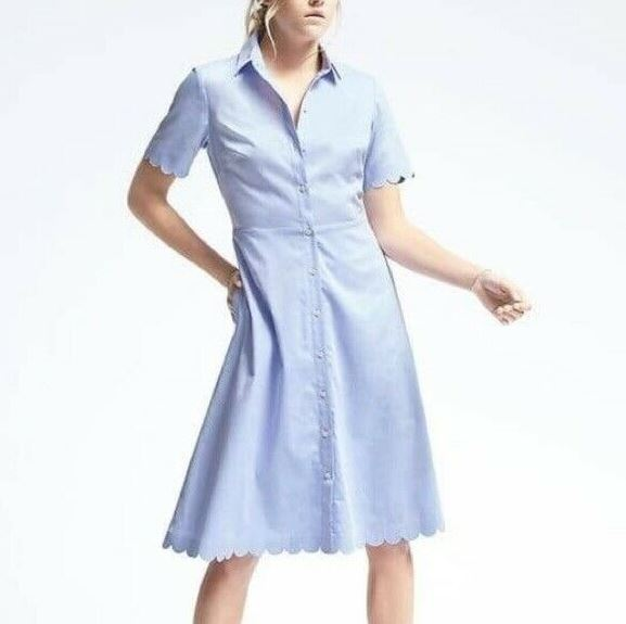 Banana Republic Scallop Shirt Dress Sz: 0