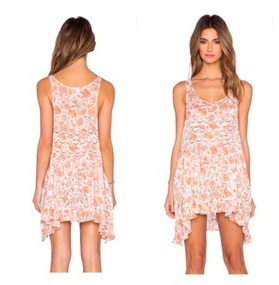 Free People Pink Floral Trapeze Slip Sz: S