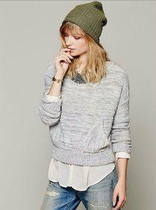 Free People In the Pocket Crop Sweater  Sz: L
