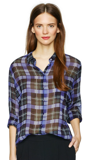 Babaton Silk Plaid Shirt Sz. S