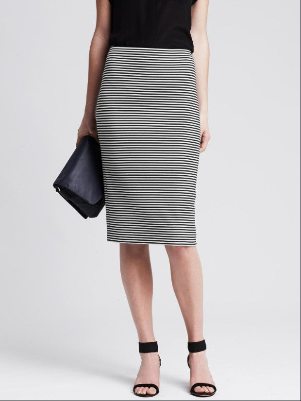 Banana Republic Striped Ponte Pencil Skirt Sz: 6 NWT!