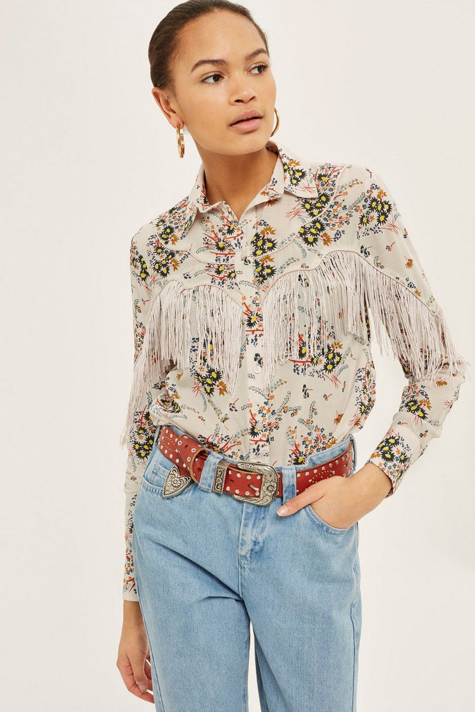 Top Shop Rodeo Fringe Floral Shirt NWT Sz: 6