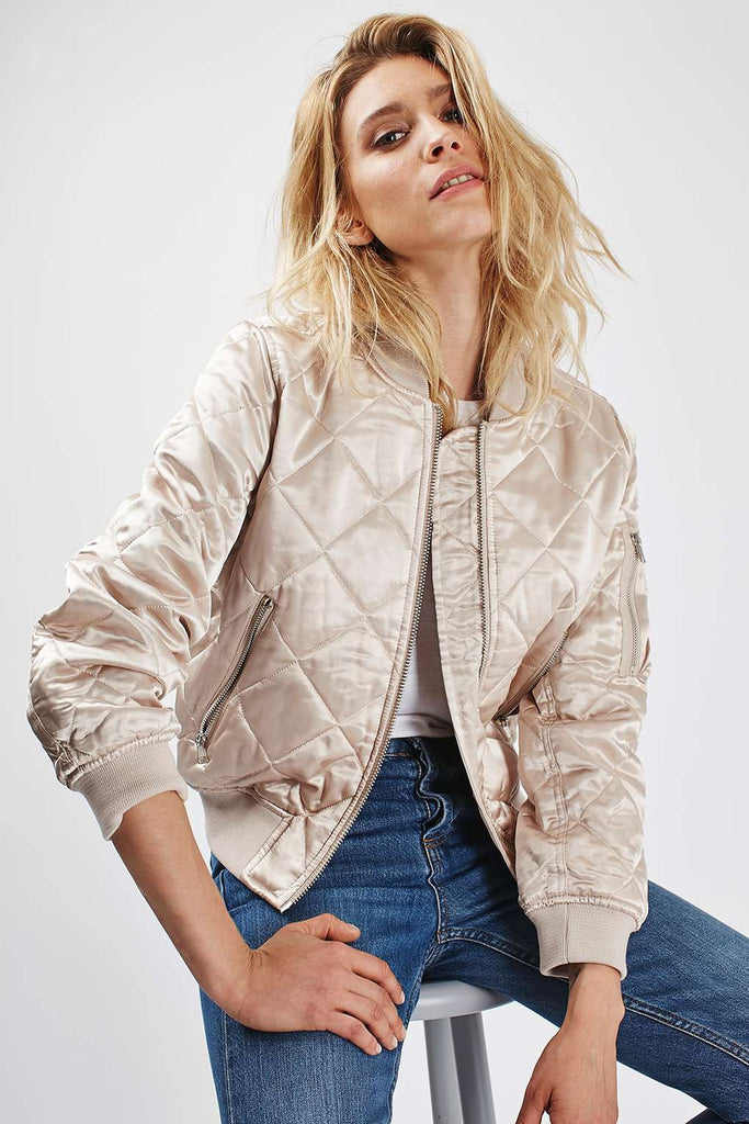 Tosphop Quilted Bomber Jacket Sz: 2