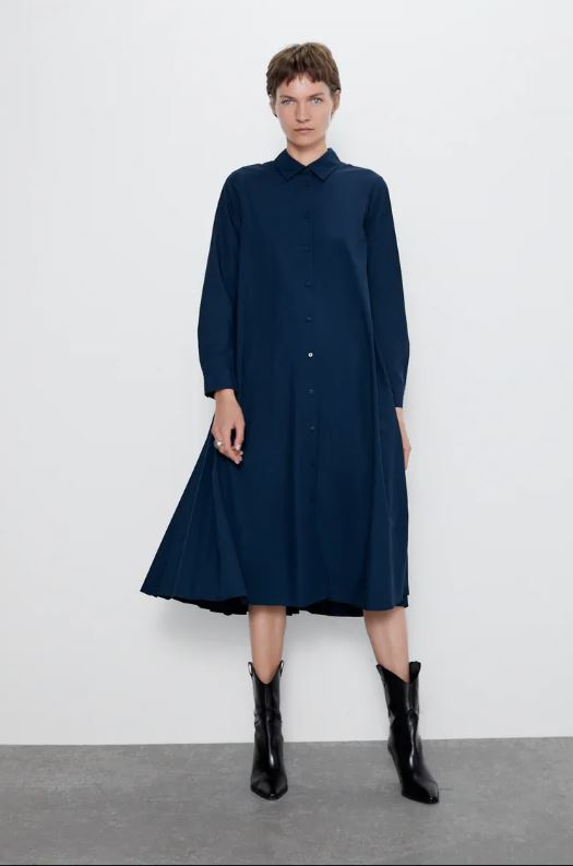 Zara Pleated Shirt Dress Size: M