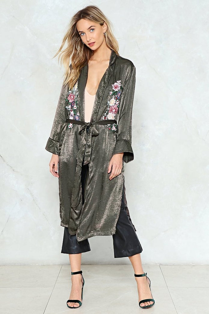 Nasty Gal Hammered Satin Duster Sz. S/M