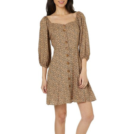 Angie Leopard Peasant Dress Sz: S
