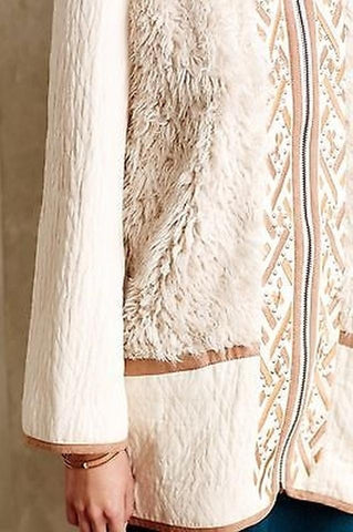 Hei Hei Highlands Embroidered Fur White Coat Sz: M