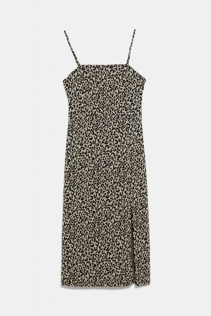Zara NWT Leopard Slit Dress Sz: M