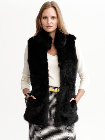 Banana Republic Faux Fur Vest Sz: XS