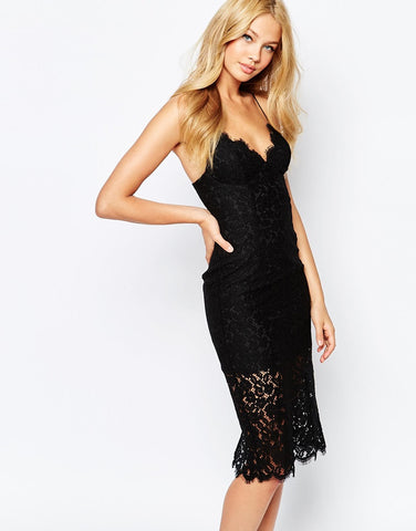 Bardot Black Chantilly Lace Dress Size: M