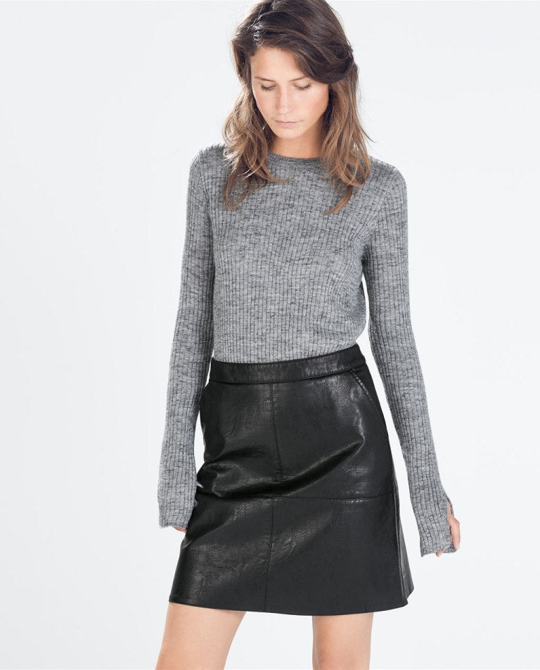4273c92f9a Zara Black A-line Faux Leather Skirt Sz. M – Peacock Boutique Consignment
