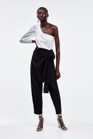 Zara NWT Bow Wrap Trousers Sz: L