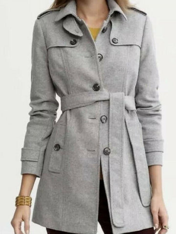 Banana Republic Italian Wool Blend Grey Trench Coat Sz: XS