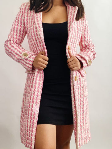 Banana Republic Long Houndstooth Trench Sz: L