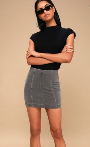 Free People Denim  Mini Skirt Charcoal Sz: 2