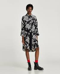 Zara Floral Shirt Dress Sz XS