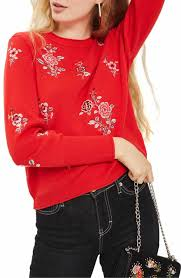 Topshop China Floral Embroidered Sweater Sz 2