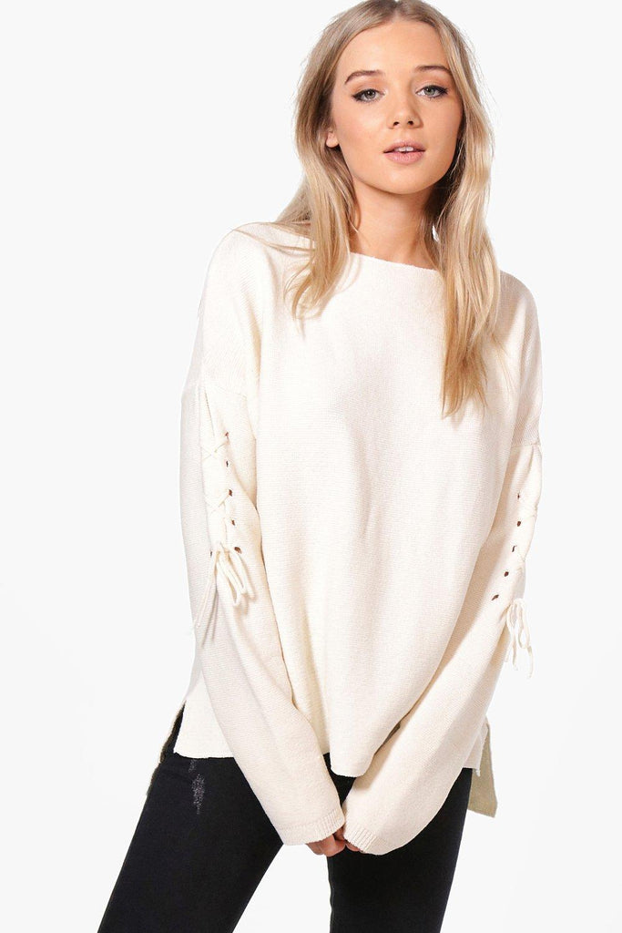 Boohoo Tie Sleeve Knit Sweater Sz: S/M
