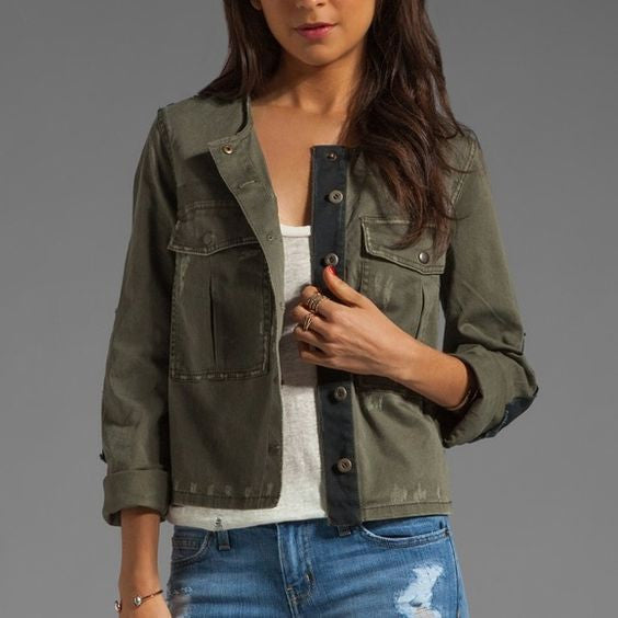 Free People Army Green Jacket Sz: M