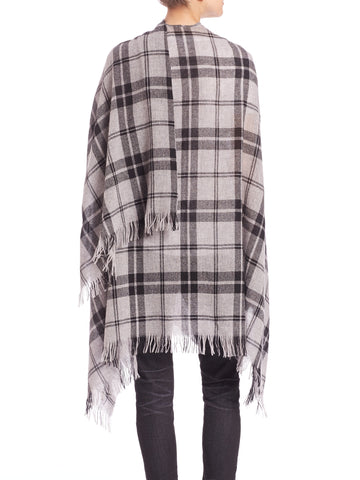 Eileen Fisher Grey Plaid Poncho Sz: O/S