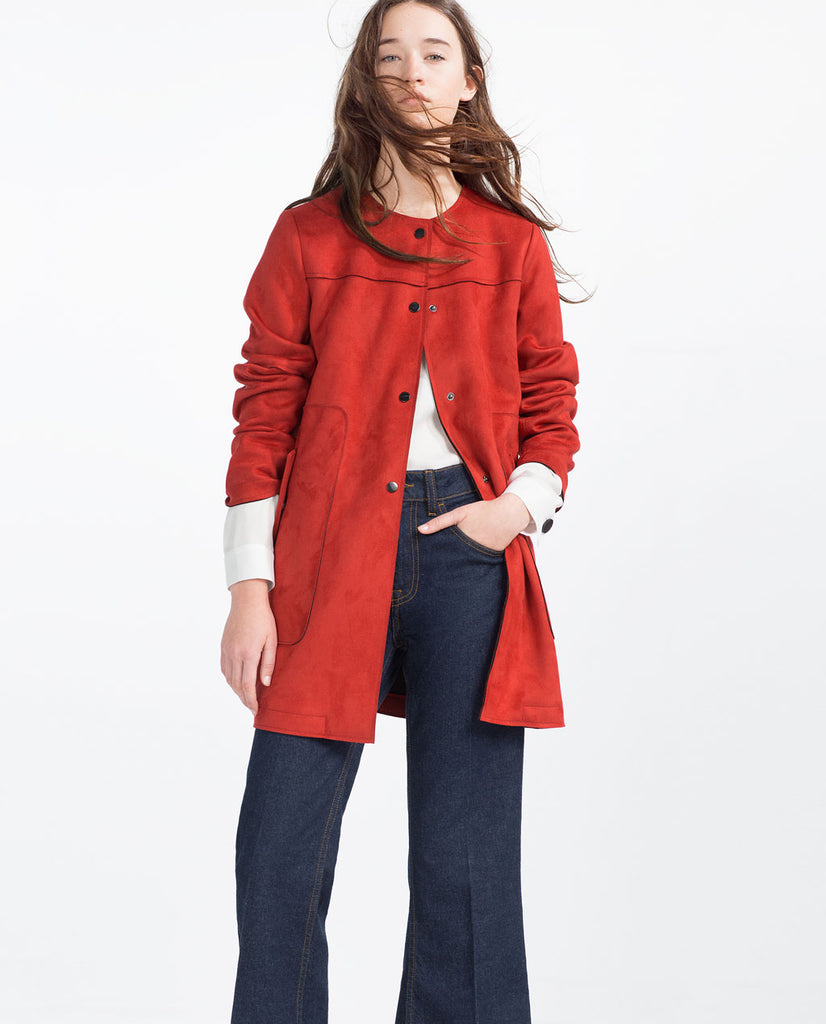 Zara Red Suede Coat Sz: XS