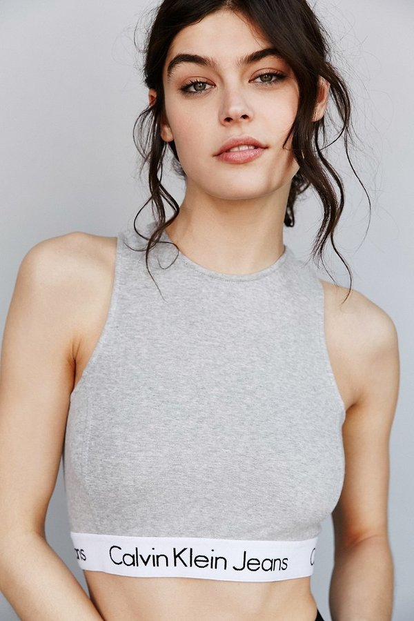 Calvin Klein Grey Crop Tank Top Sz: L
