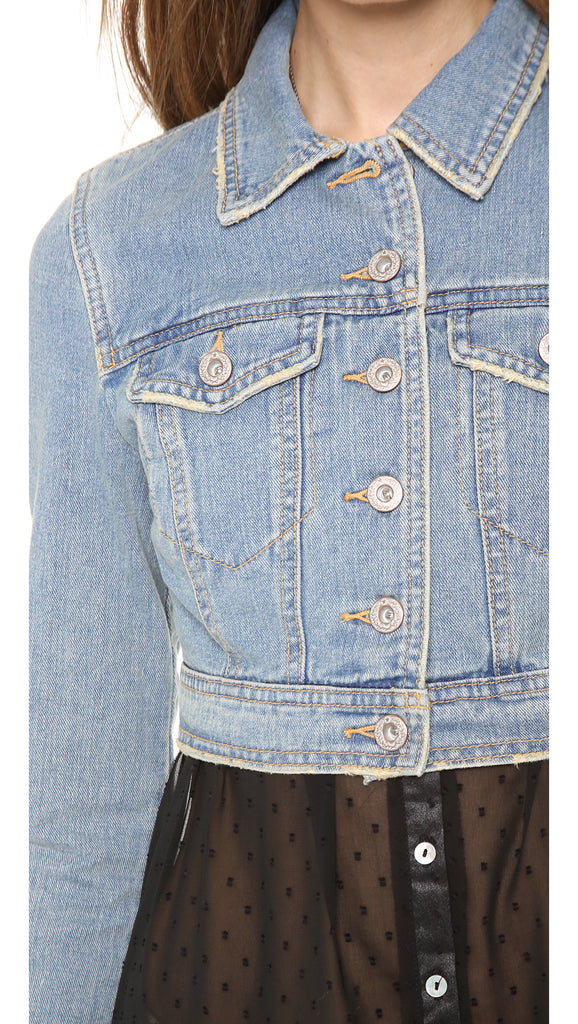 Free People Cropped Denim Jacket Sz: 6