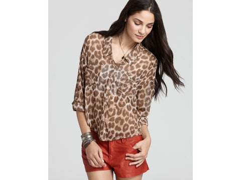 Free People 'Easy Rider' Animal print blouse XSmall