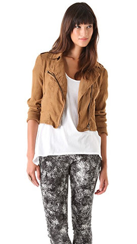 Free People Linen Moto Jacket Sz 10