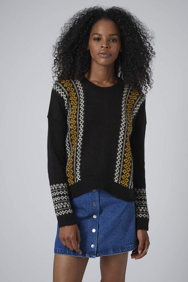 Topshop Fairisle Panel Sweater Sz: 6