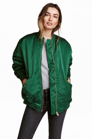 H&M Green Bomber Jacket Sz: 2