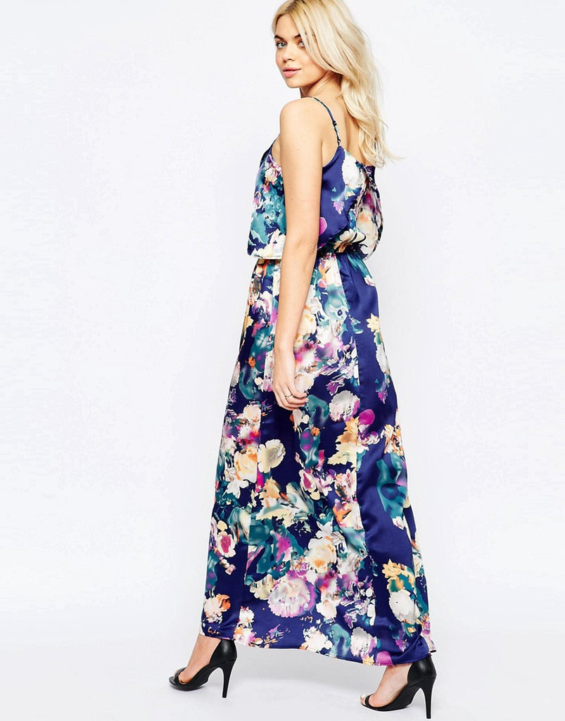 eaa34b41dd8 Girls on Film Blurred Floral Print Maxi Dress Sz  6 – Peacock ...