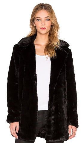 John + Jenn Notched Collar Faux Fur Jacket Sz: M