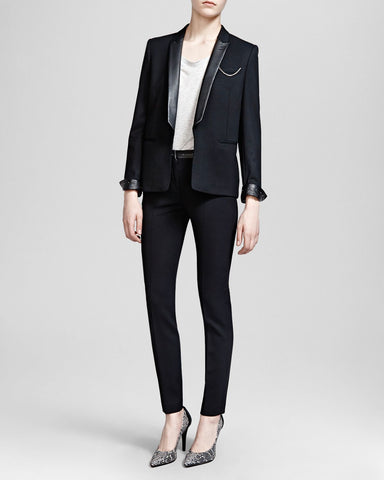 The Kooples Leather Collared Blazer Sz: 38