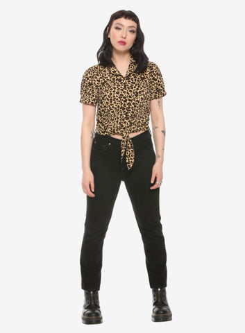 Hot Topic Tie-Front Blouse Sz: L