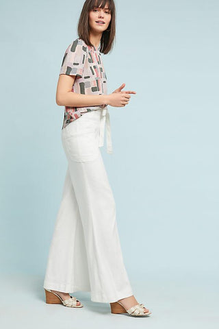 Anthropologie NWT Tie-Waist Linen Wide Legs Sz: 25