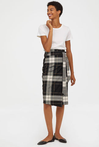 H&M Plaid Wrap Skirt Sz: 6