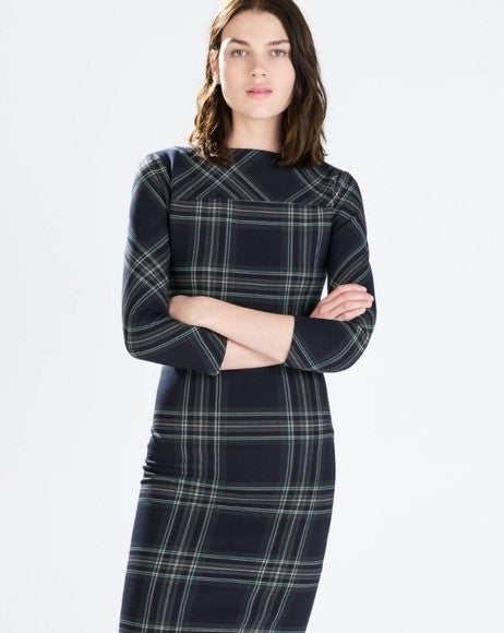 Zara Plaid Bodycon Dress Sz: S