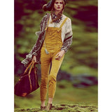 Free People Mustard Cord Overalls Sz:26