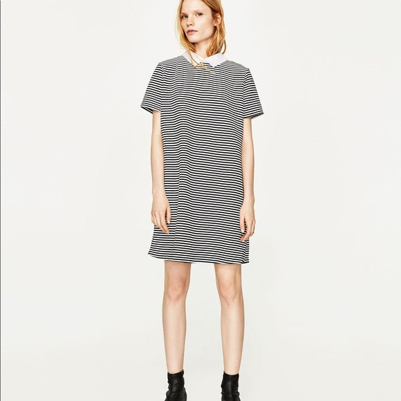 Zara Stripe Dress with Peter Pan collar Sz. S