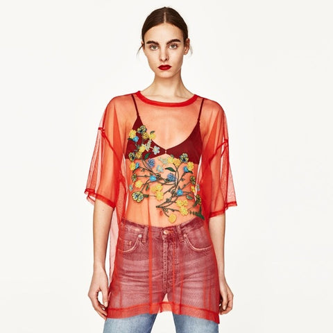 Zara Embroidered Mesh Top Sz: M