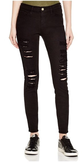 Frame Denim Le Skinny Ripped Black Jeans Sz: 23