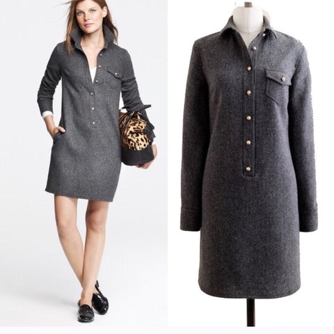 J Crew Herringbone Tweed Wool Shirt Dress Sz 8