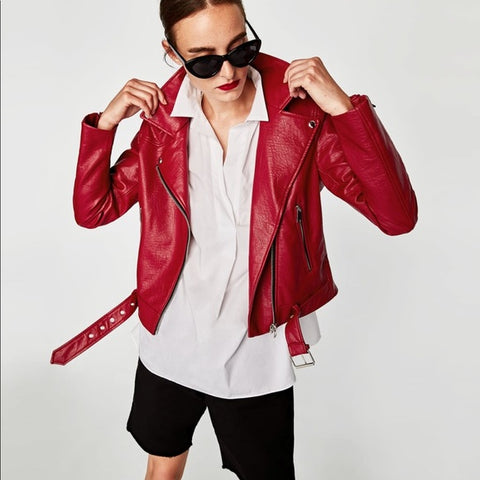 Zara Red Moto Jacket Sz:M
