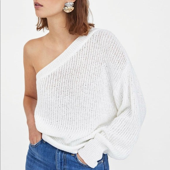 Zara One Shoulder Sweater Sz: S