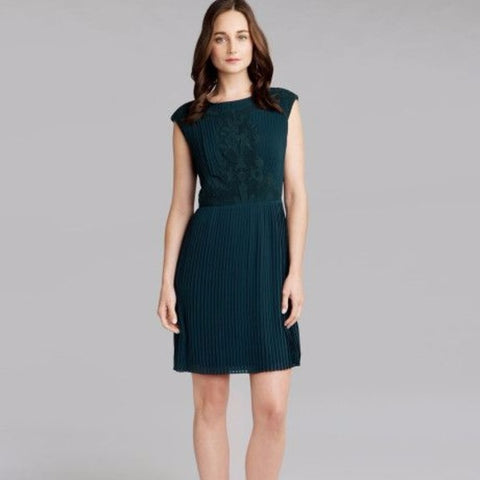 Ted Baker Saskiah Lace Pleated Dress Sz. 2