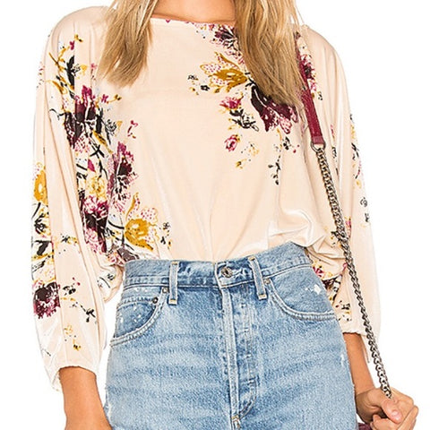Free People Dolman Sleeve Velvet Bodysuit Sz: M