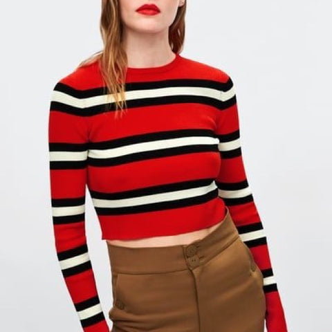 Zara Stiped Crop Sz S